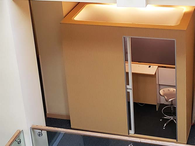 Room for 3 in this meeting booth