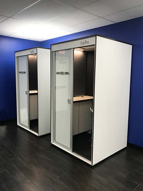 Custom office booths with logos