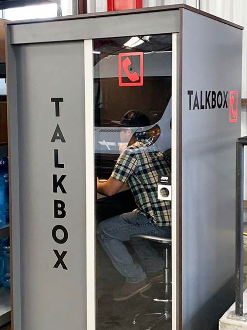 Worker using Video booth