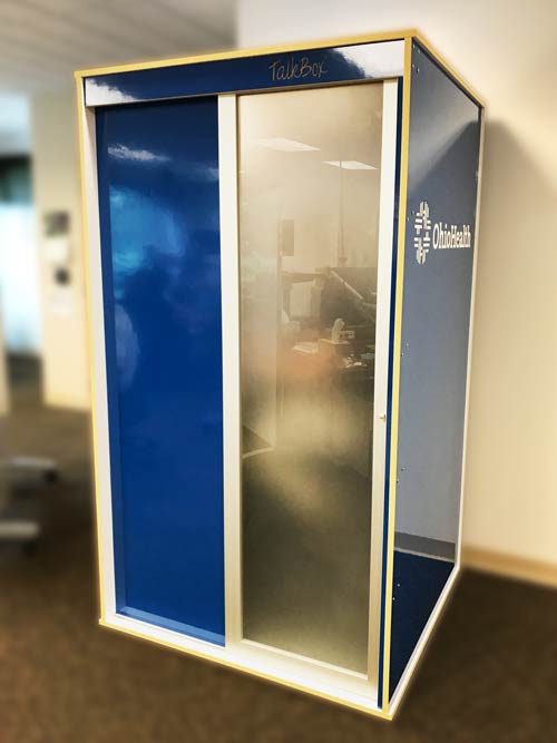 Custom blue privacy booth