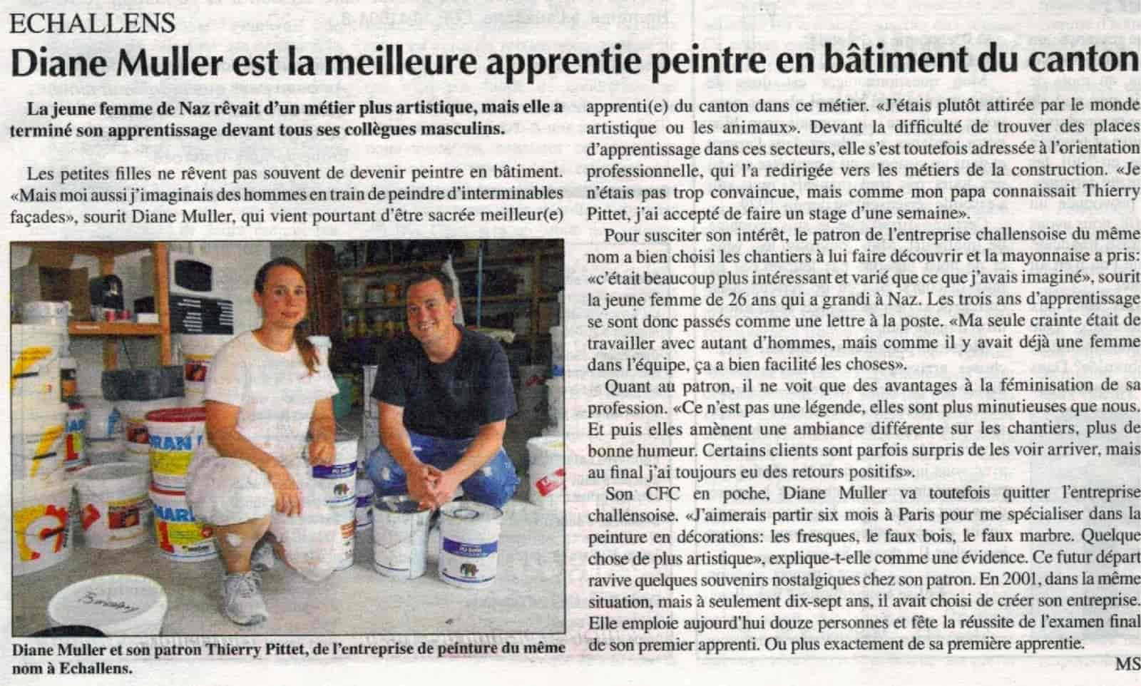 Thierry Pittet Peinture Sàrl a formé Diane Muller qui s'est vue décerner le statut de meilleure apprentie peintre en bâtiment du Canton de Vaud