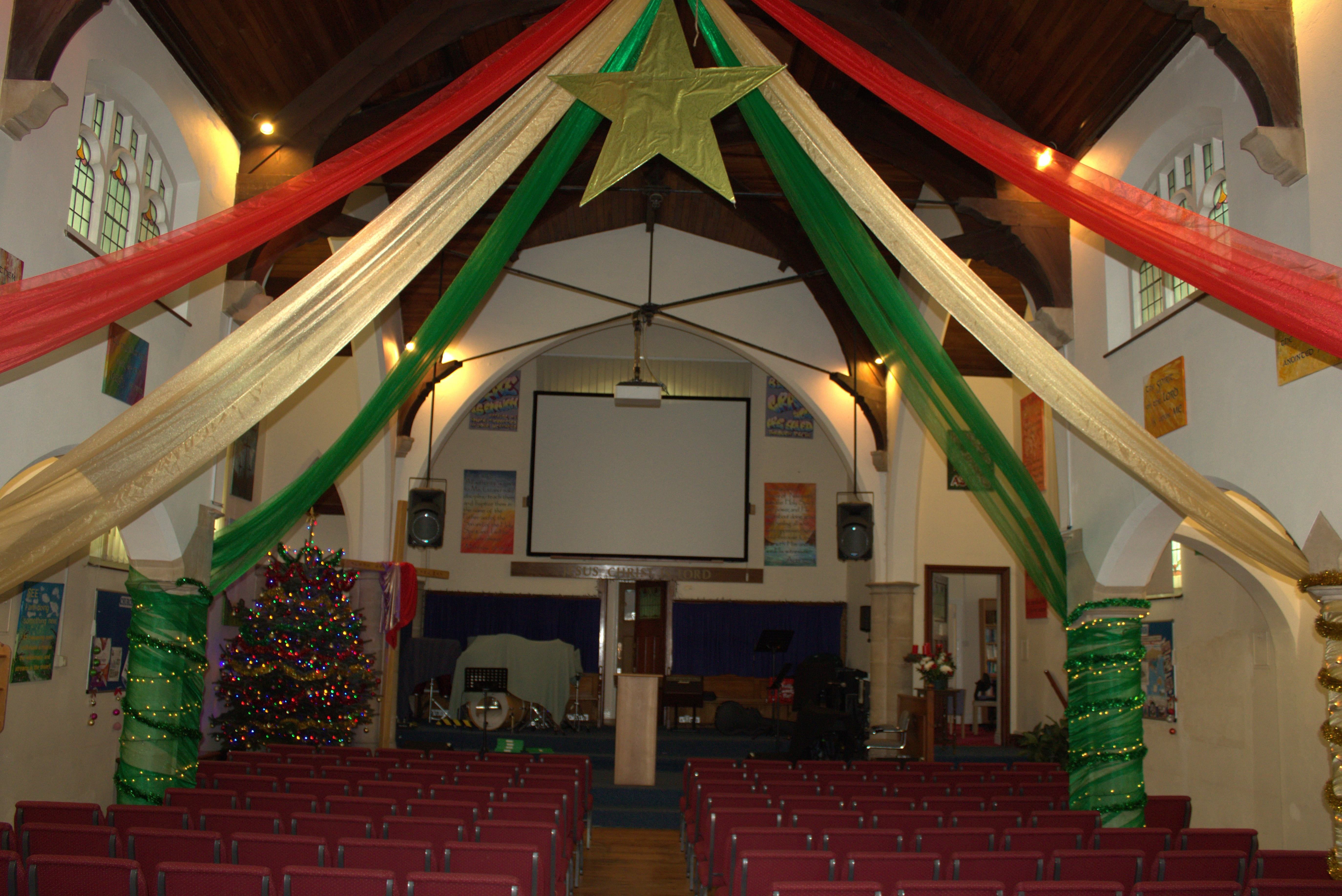 Our Church with Christmas decorations up