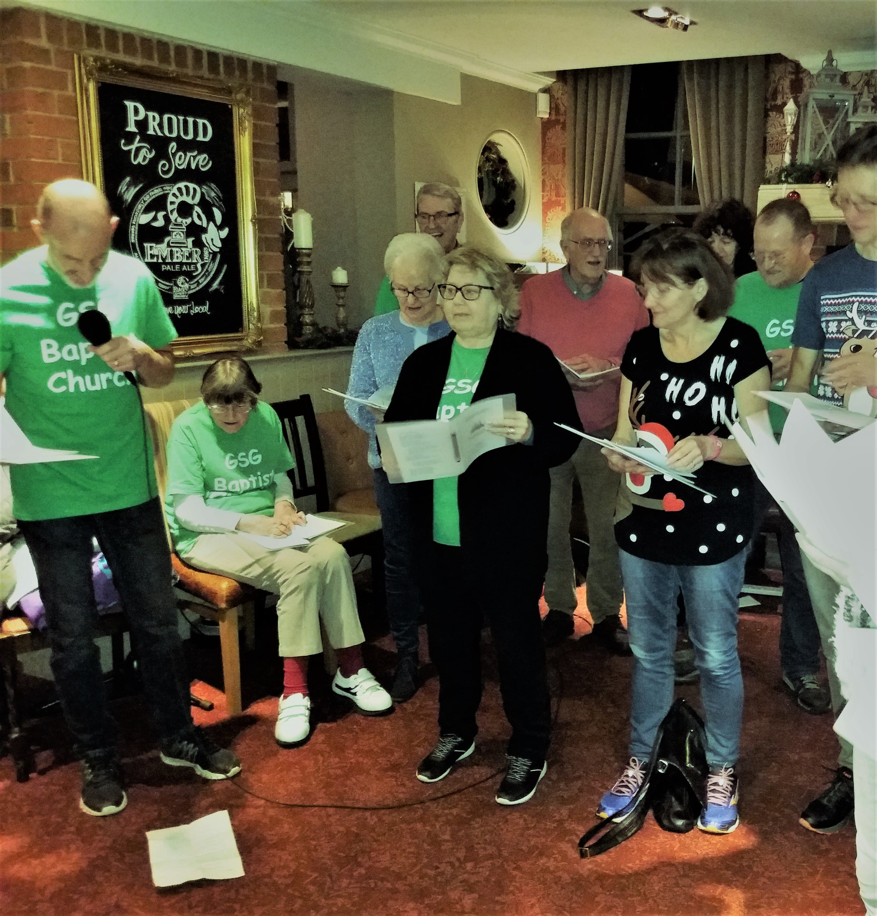 Some of our carol singers at The Queens Head, Green Street Green