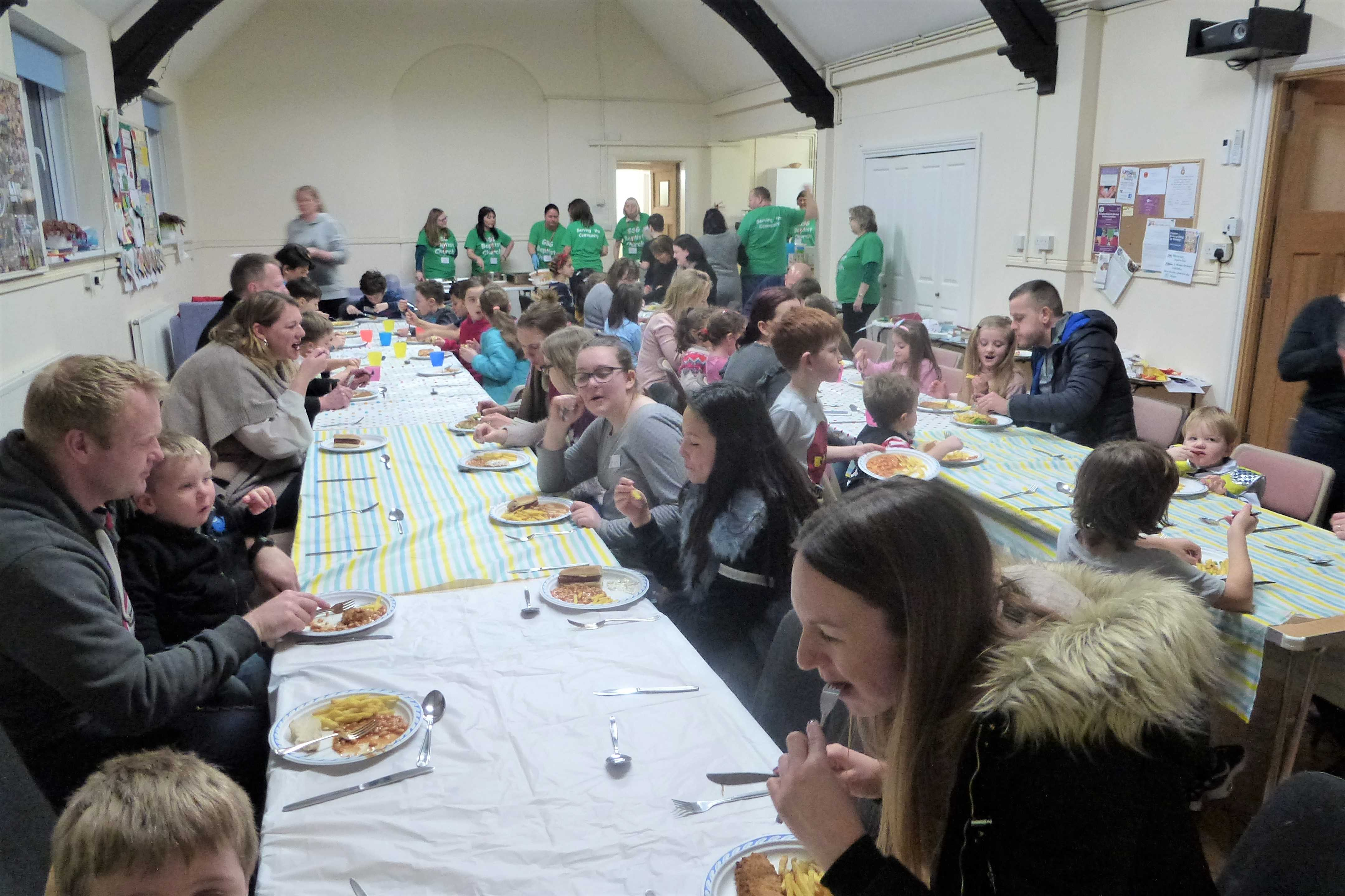 Fellowship with fish and chips at February Messy Church