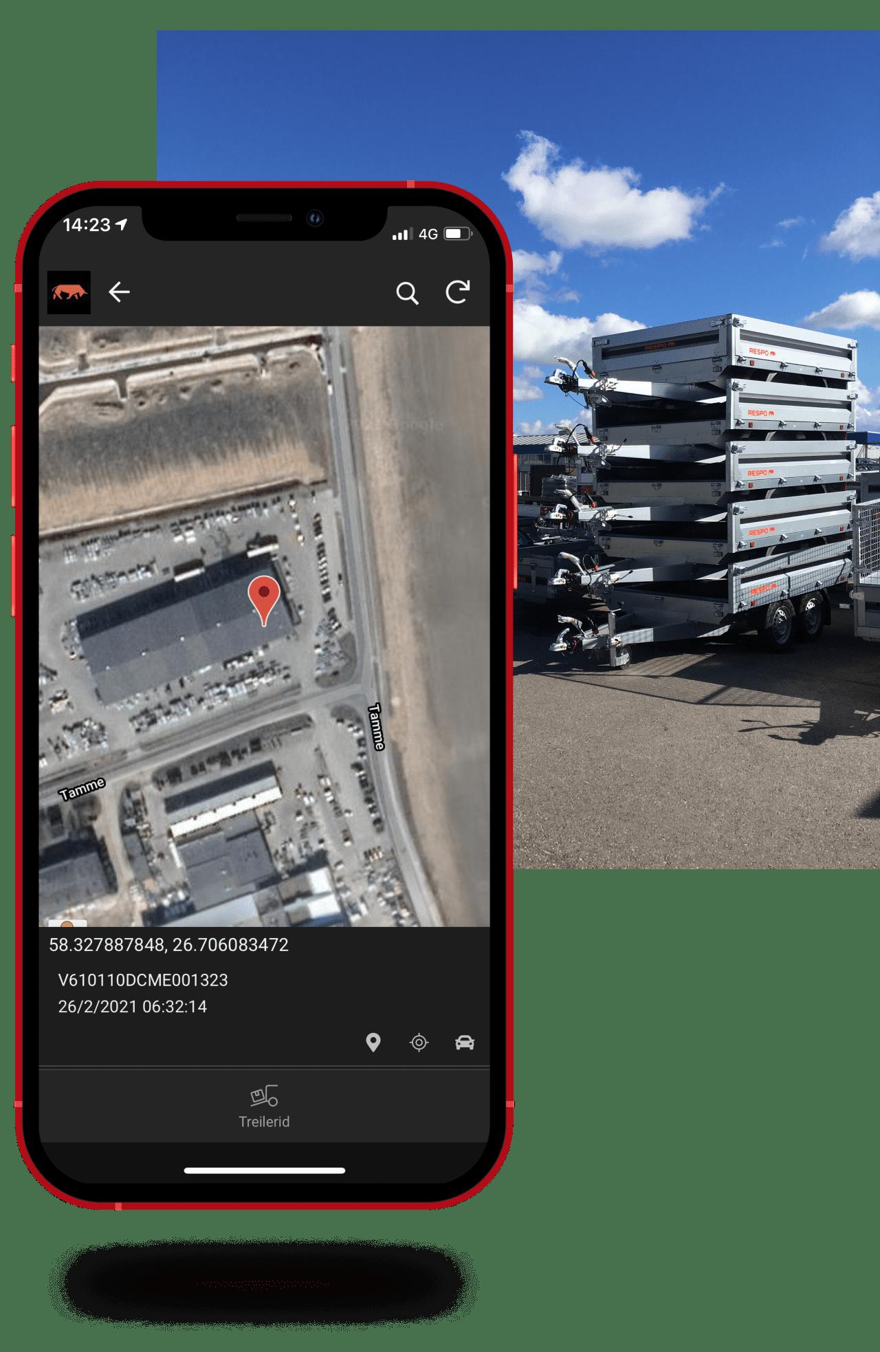 Respo trailer tracking app screenshot