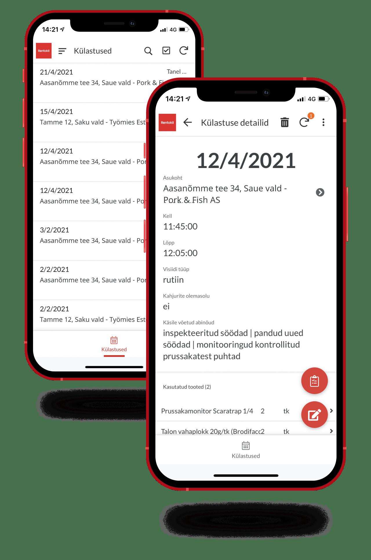 Rentokil pest monitoring app screenshots
