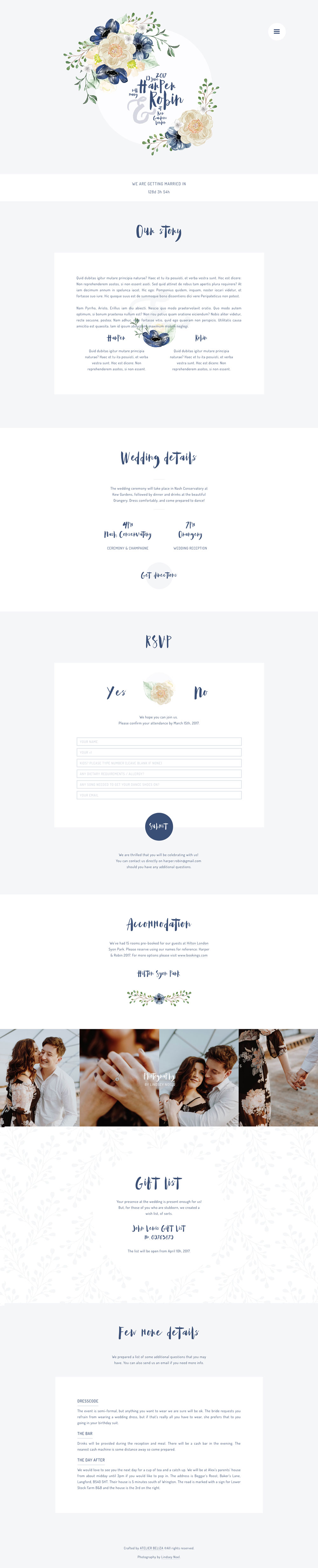 Wedding website template - Ingaro - featuring couples' engagement photos, wedding location map, online RSVP and venue information for the wedding guests.