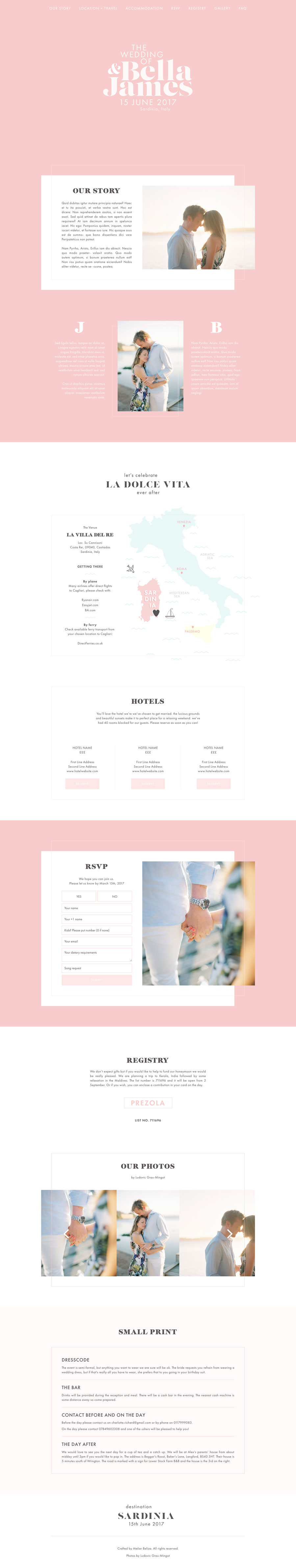 Sardinia is a wedding website template that includes couples' engagement photos, wedding location map, online RSVP form and wedding venue info.