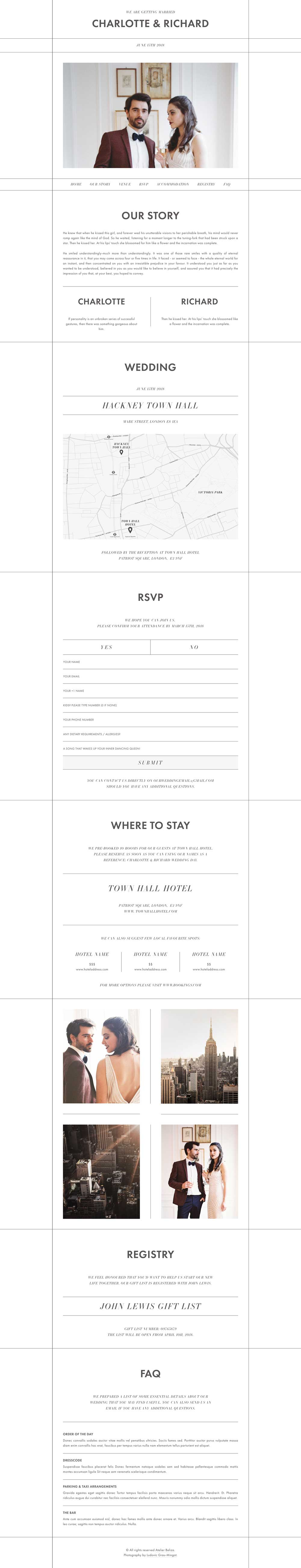 Wedding website template - Manhattan design layout featuring engagement photos, wedding location map, online RSVP and venue information for the wedding guests.