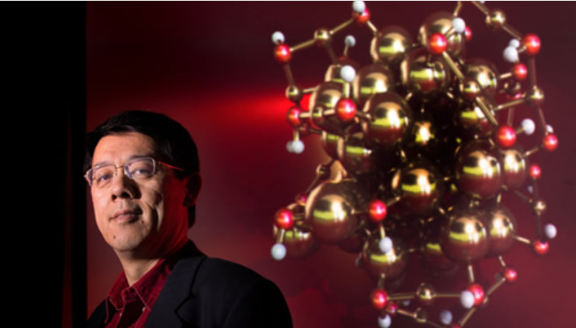Man with molecules in background