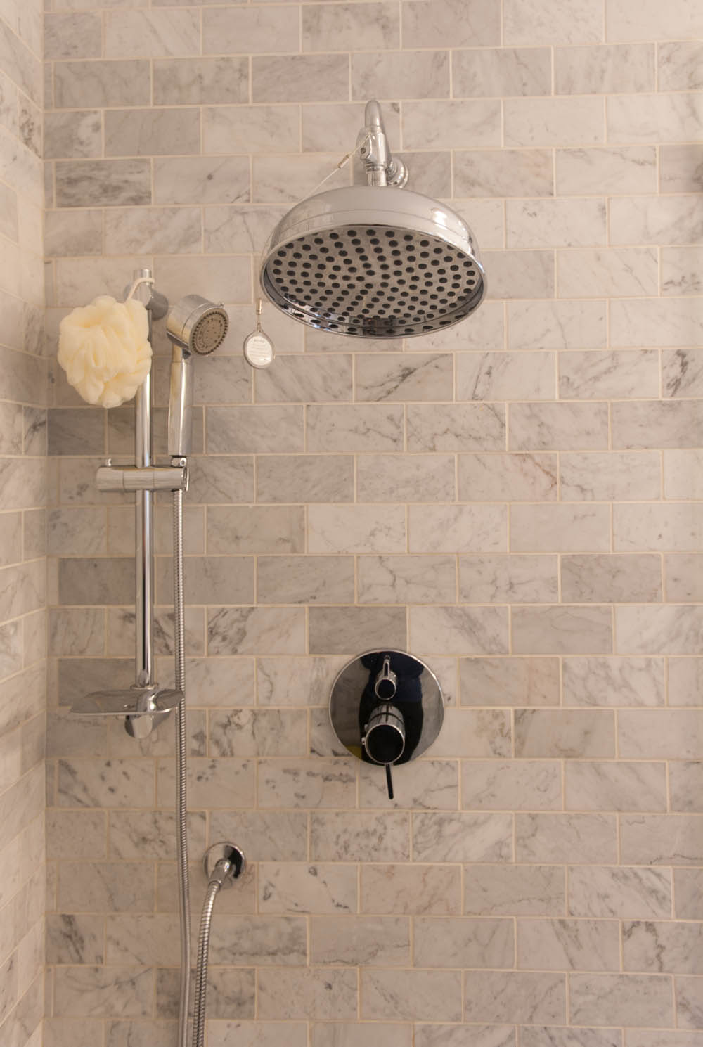 marble shower subway tiles