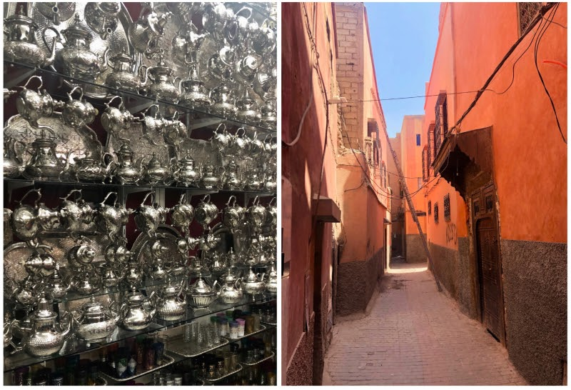 morocco design inspiration orange red buildings streets silver pewter design teapots