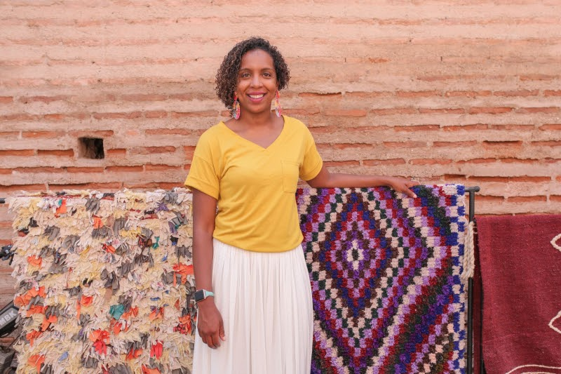 joy street interior designer kelly finley yellow purple colorful handwoven rugs morocco