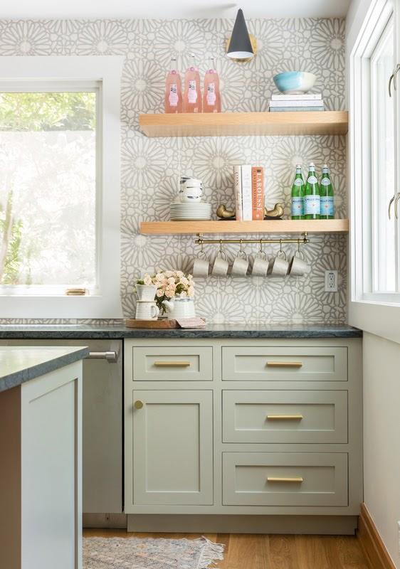 kitchen inspiration light grey white floral wallpaper joyful design pale sage cabinets