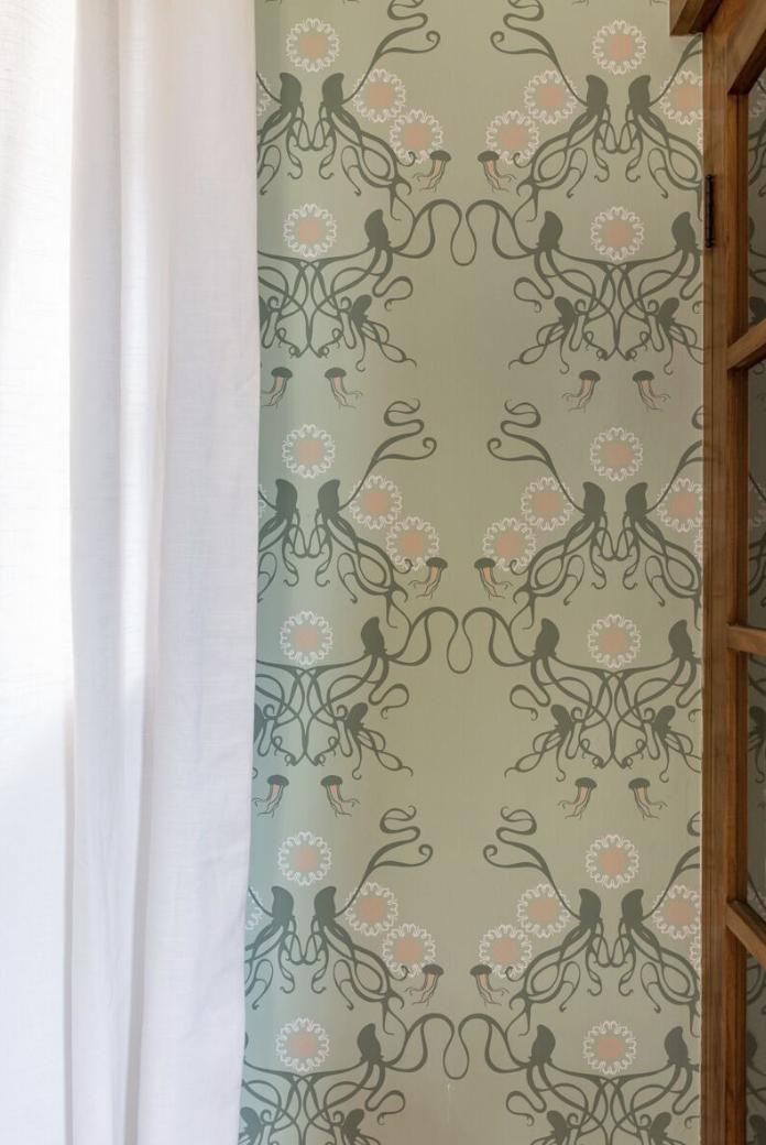 squid jellyfish floral wallpaper safe green olive coral inspiration dining room design