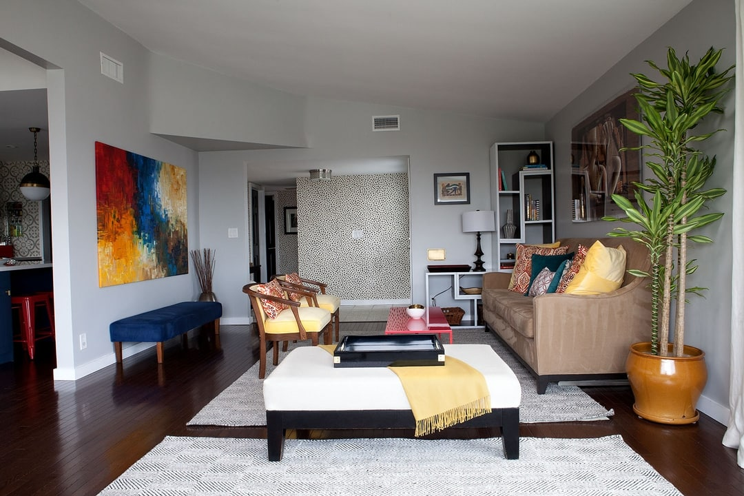 1950s ranch renovation san jose drive red blue yellow living room inspiration
