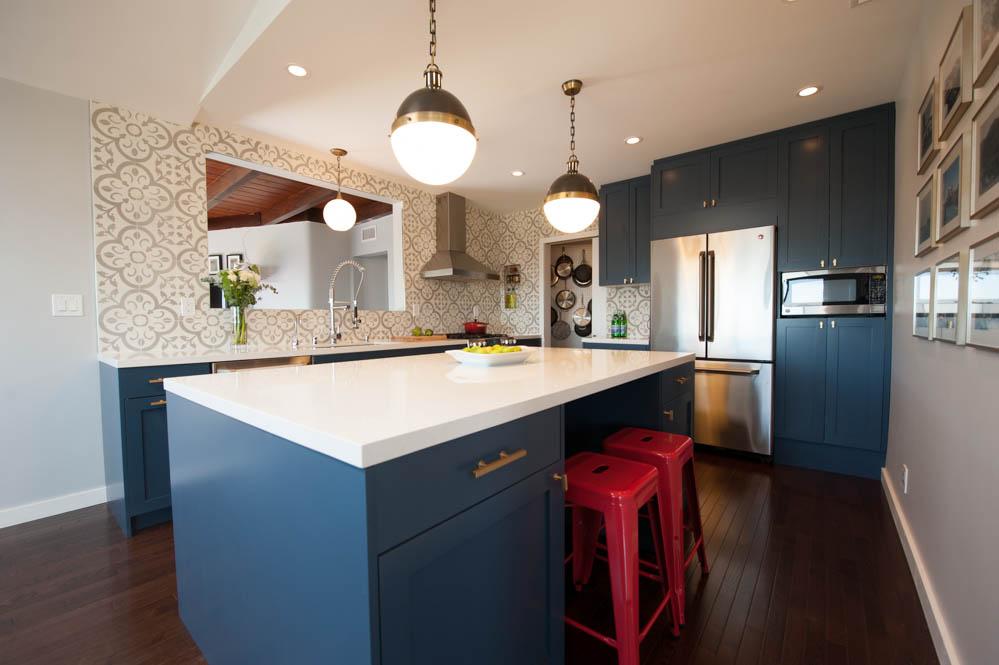 kitchen inspiration cobalt island cabinets red stools inspiration piece