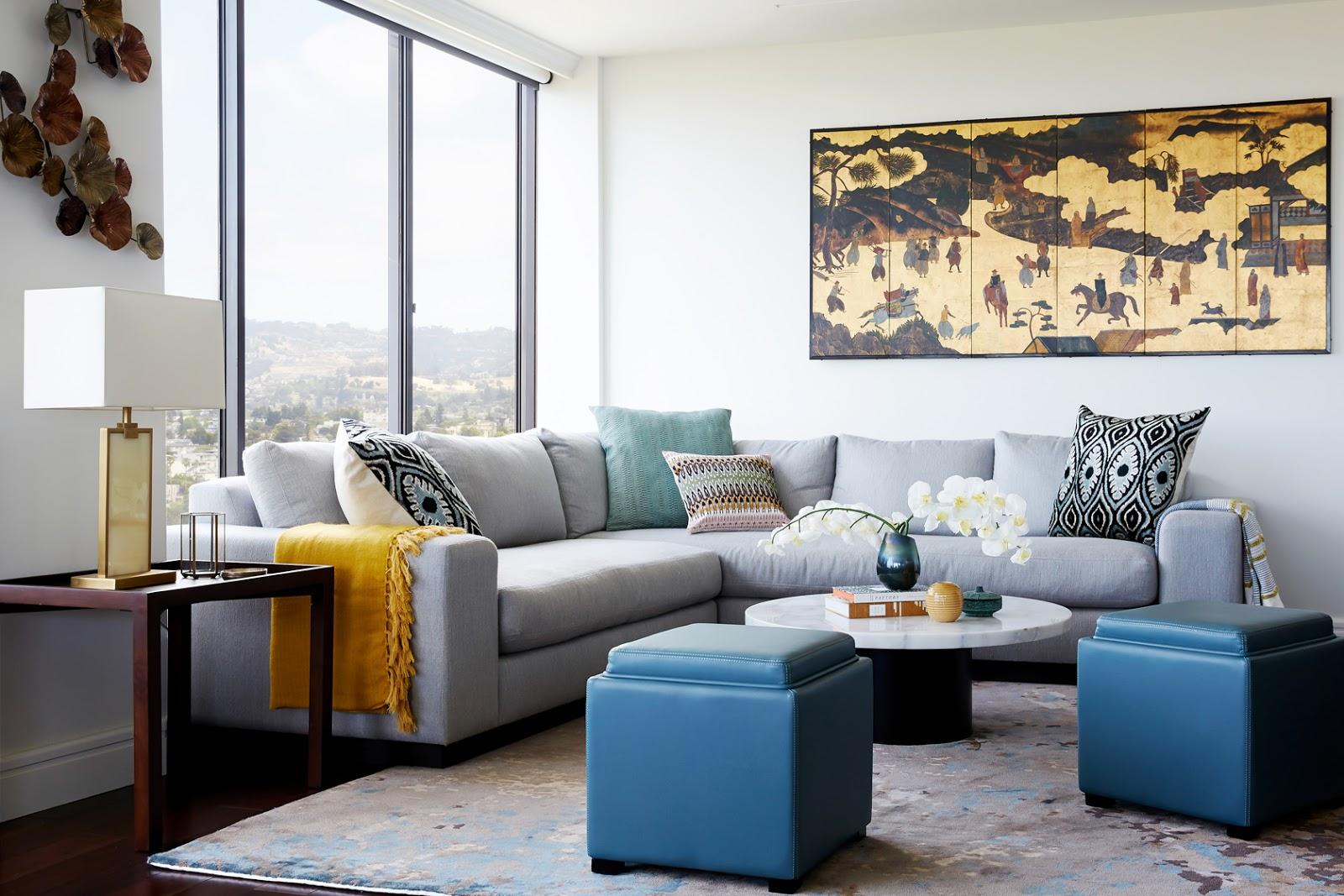 airbnb guest space table sofa art joyful color texture living room