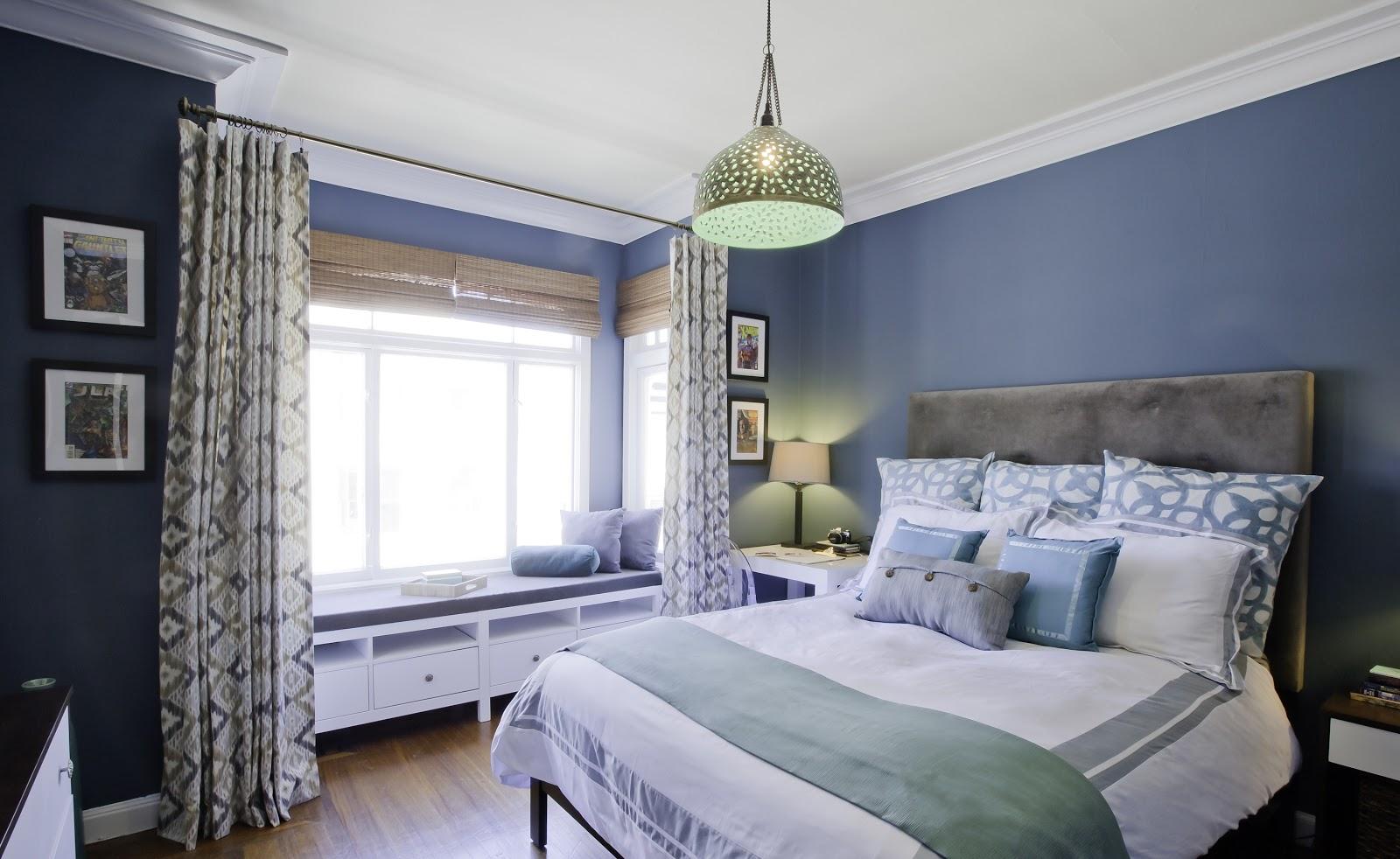 joy street design guest bedroom teal light blue reading nook curtains airbnb