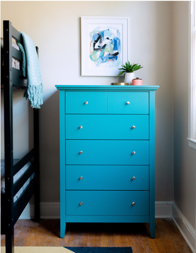 elizabeth house oakland family bedroom blue dresser abstract art