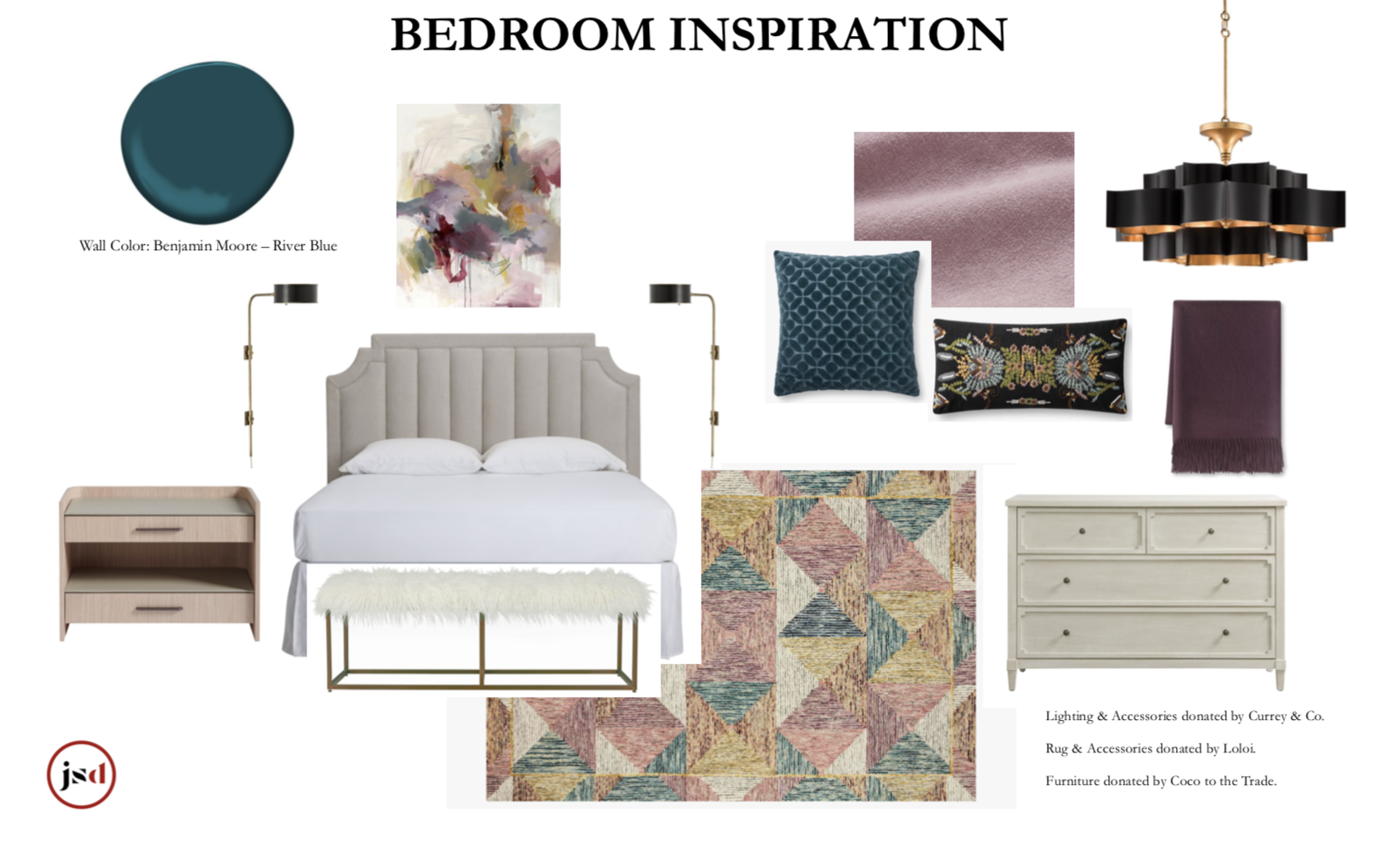 bedroom inspiration cream headboard benjamin moore river blue currey co lighting rose duvet