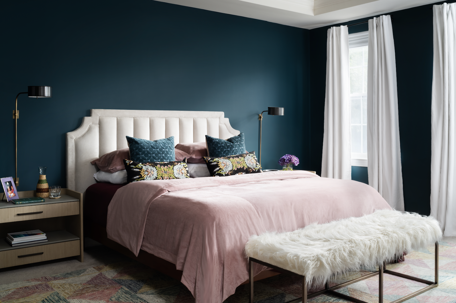 principal bedroom cream headboard white curtains ceiling teal walls joy street initiative