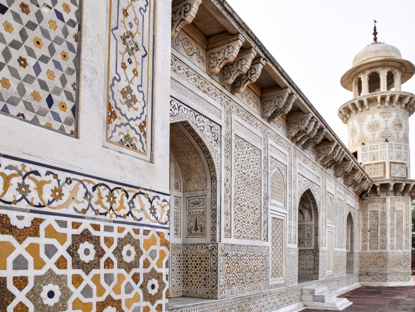 design inspiration baby taj india colorful white marble patterns mughal architecture closeup