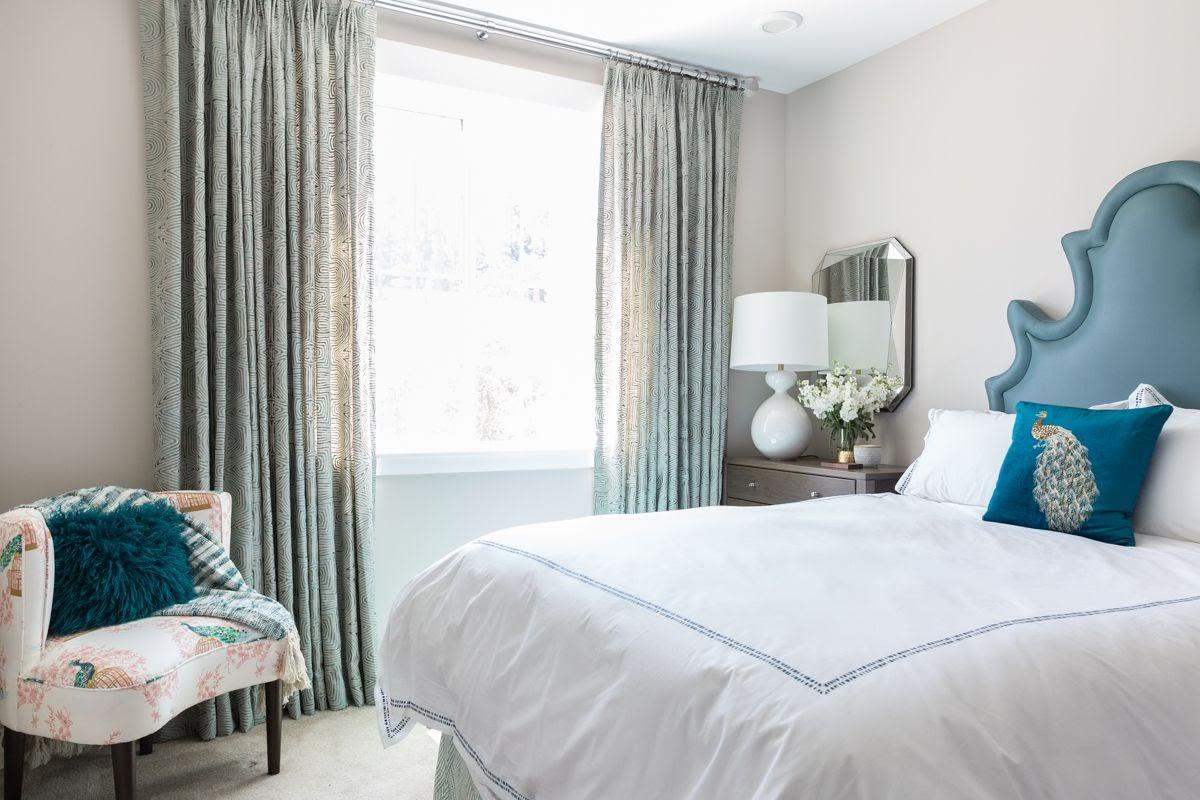 walnut creek principal bedroom window treatments custom upholstered headboard chair