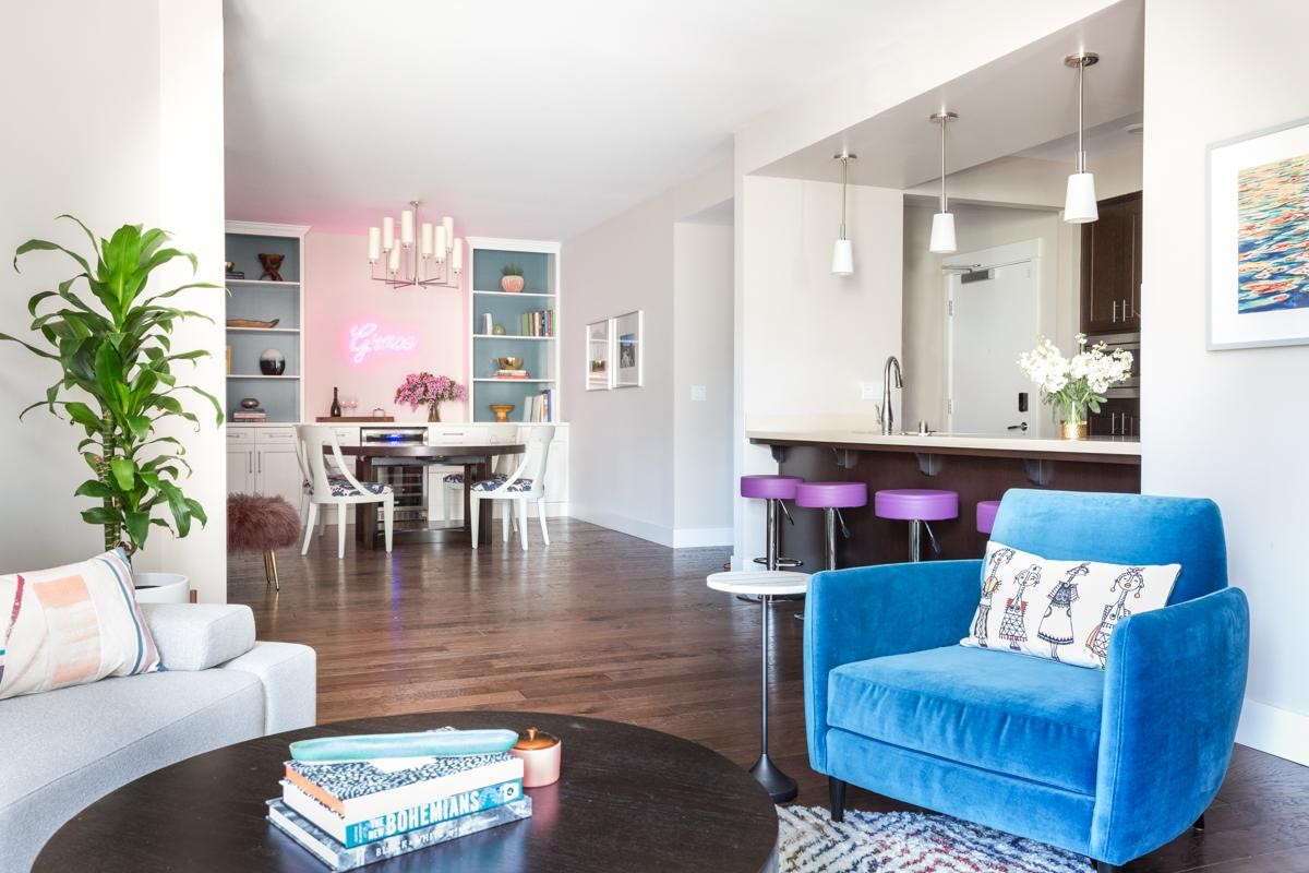 walnut creek interior design open concept living room dining area kitchen bright colorful clean blue chair purple bar stools