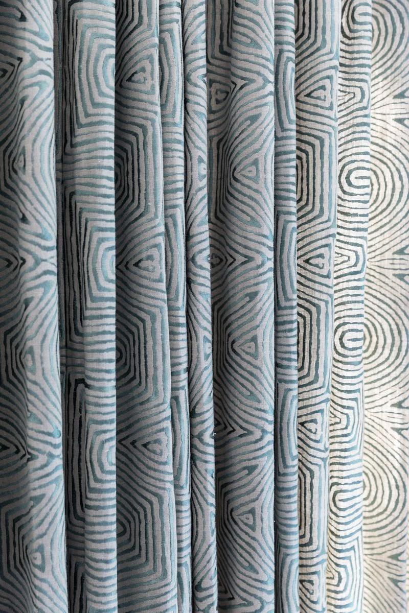 joyful drapery curtain pattern fabric white teal fingerprint whorls luxury