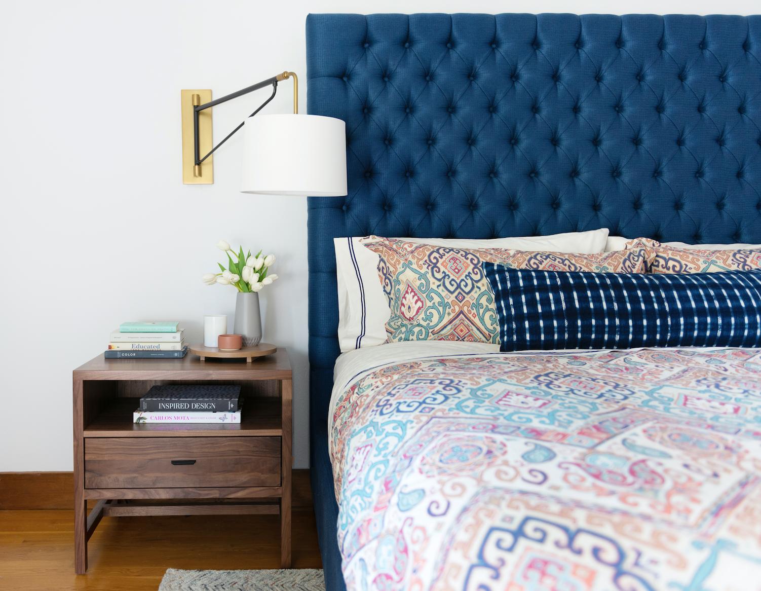 principal bedroom design piedmont ca joy street interiors blue headboard sconces paisley duvet