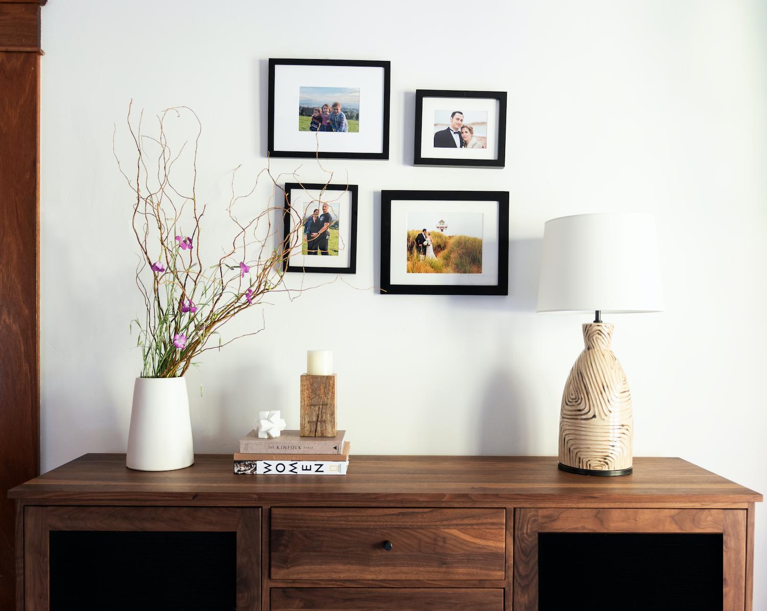 joy street design bedroom makeover gallery wall wabi sabi plant natural wood credenza piedmont ca