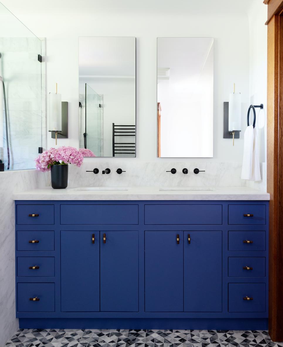 piedmont ca bathroom design blue vanity pink flowers matte black hardware marble counters