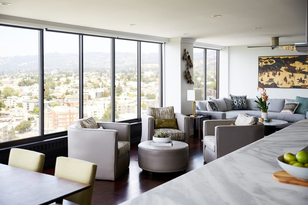 bellevue bay area condo interior design lounge area sonos lights smart home technology