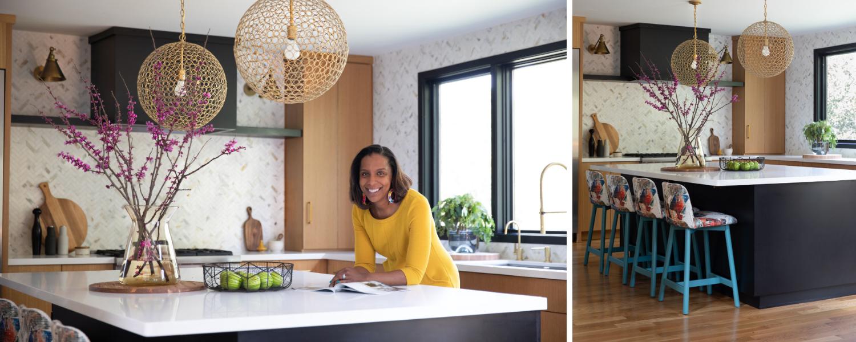 joy street kitchen design matte black island gold pendants colorful chairs