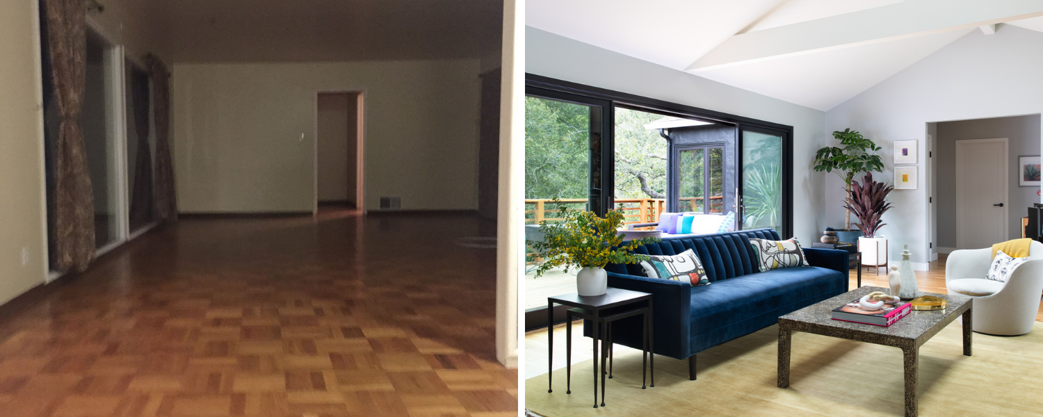 living room design before and after 1940s full home remodel oakland