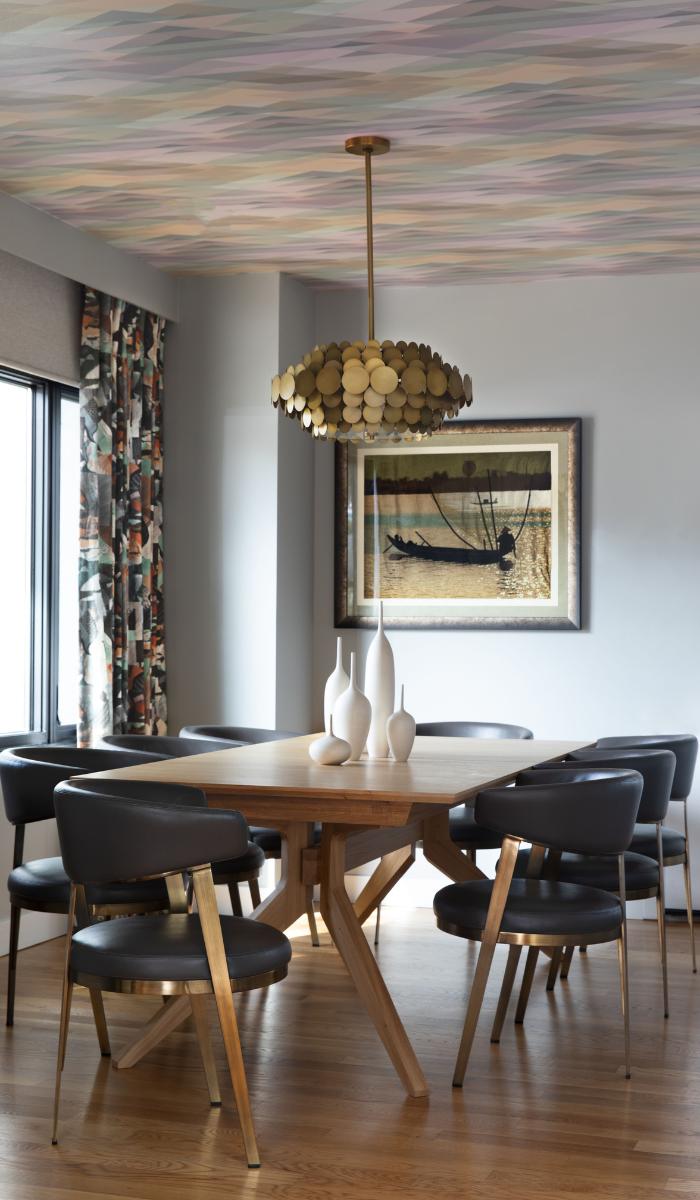 after dining room design oakmore brass chandelier geometric prism wallpaper ceiling
