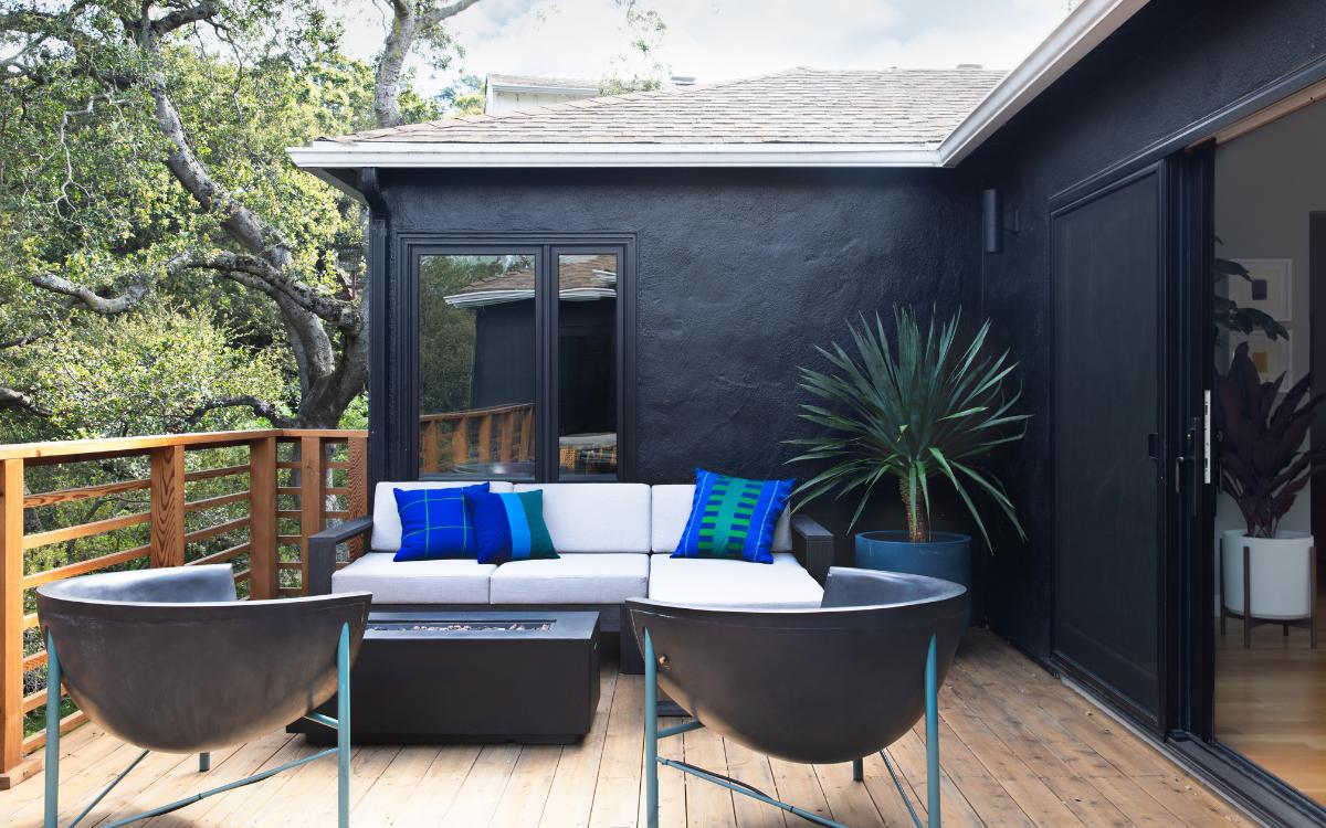 1940s full home remodel oakland outdoor deck cedar firepit black painted walls