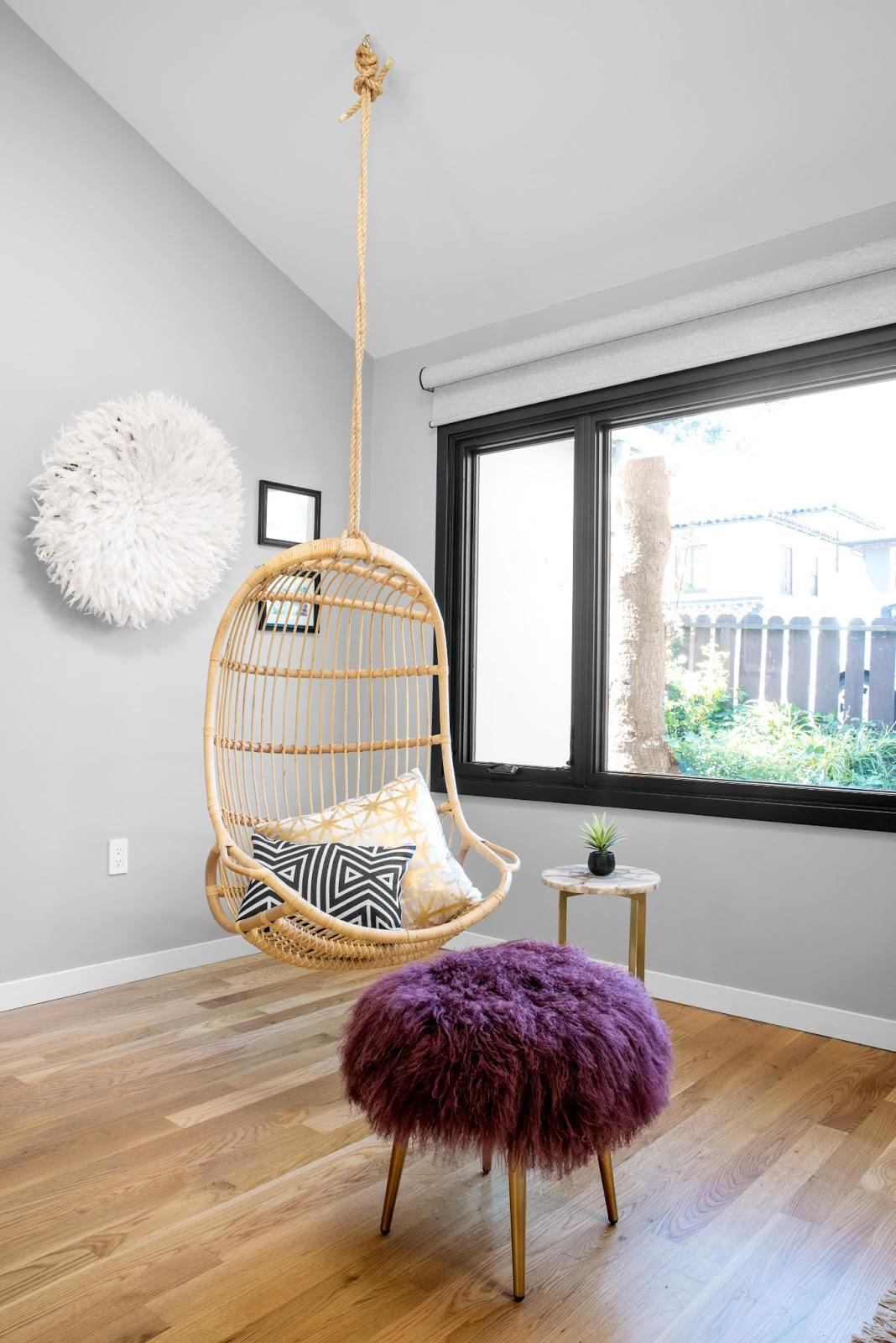 1940s full home remodel oakland wooden swing geometric pillows