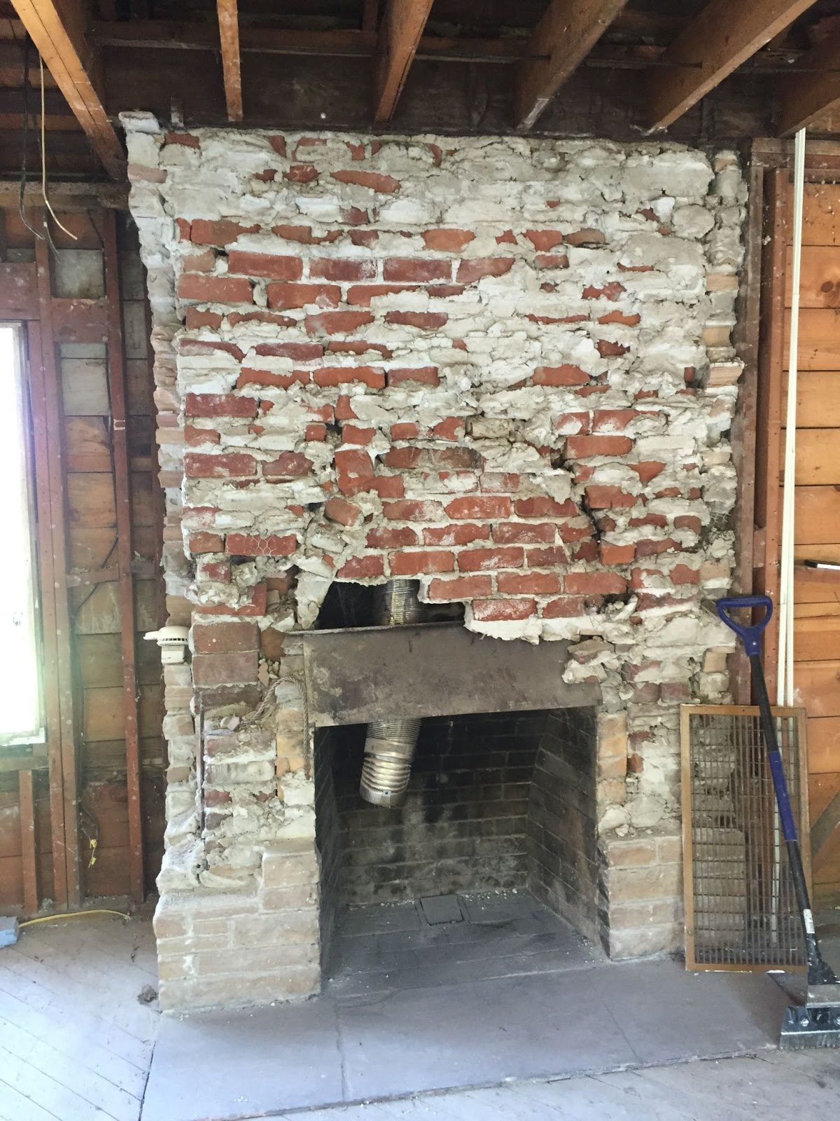 1940s full home remodel oakland before crumbling brick fireplace