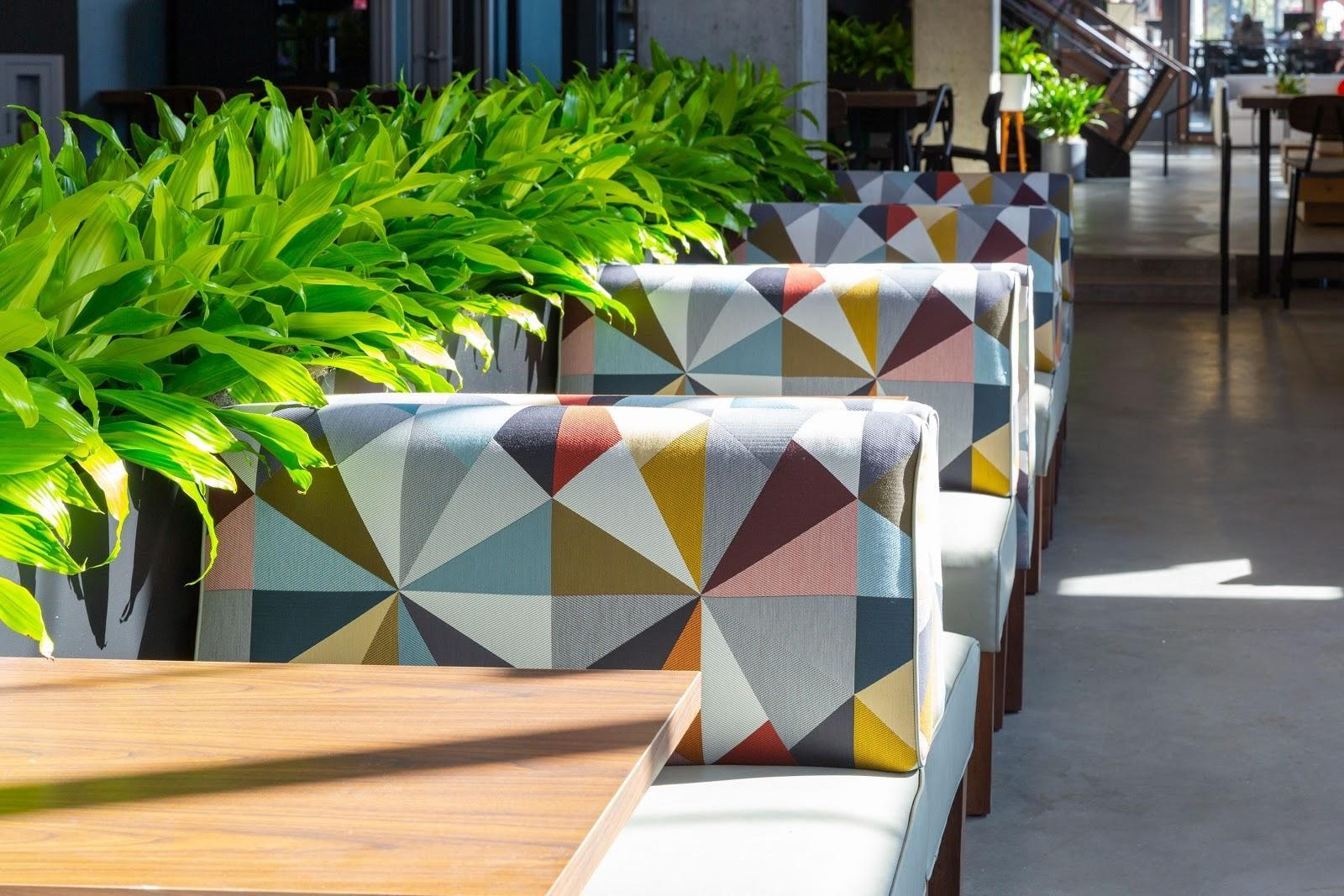geometric colorful patterned benches moveable planters outlets coworking space east bay ca