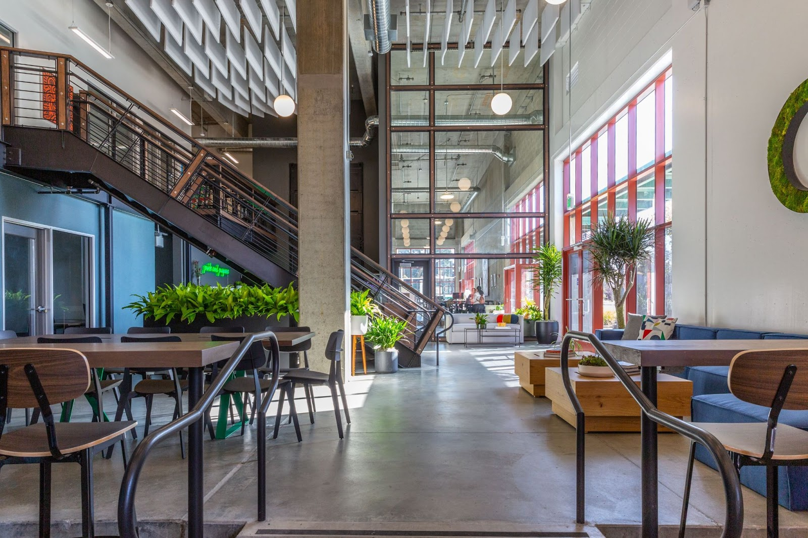 view of coworking space upstairs downstairs creative bright open entrepreneurs creatives richmond revival