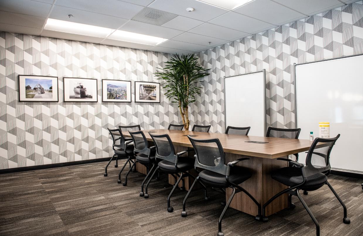 creative conference room design 3d wallpaper geometric local art bay area