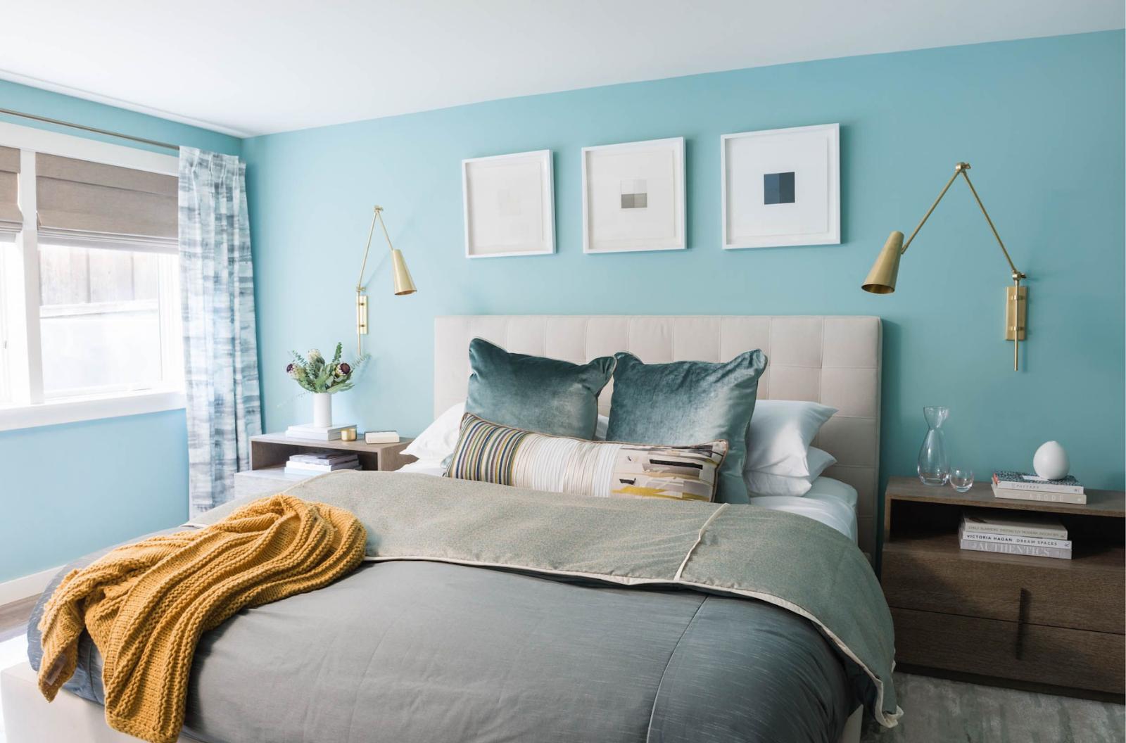 joy street design light blue grey brass accents end tables master bedroom