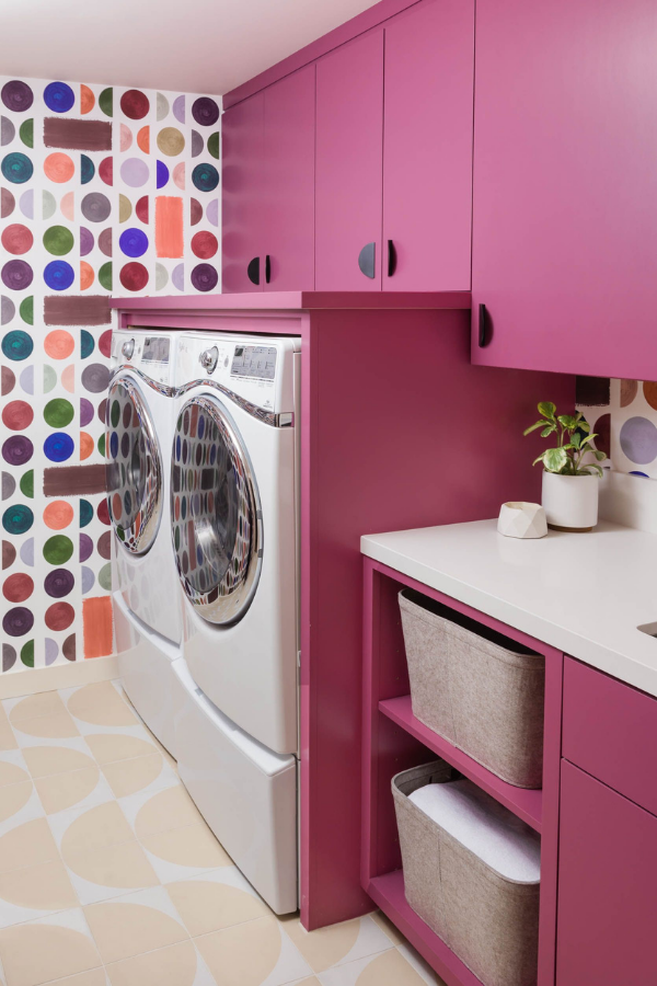 joy street design fun laundry room pink with colorful wallpaper and tile joy street design