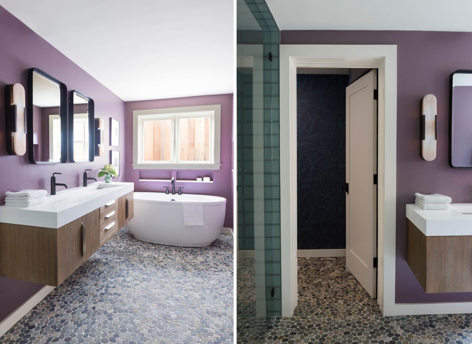 master bathroom river rock dual vanity purple walls free standing tub