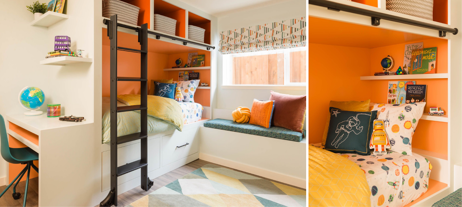 boys bedroom sunset inspired orange yellow green built-in bed with storage desk and reading nook joy street design