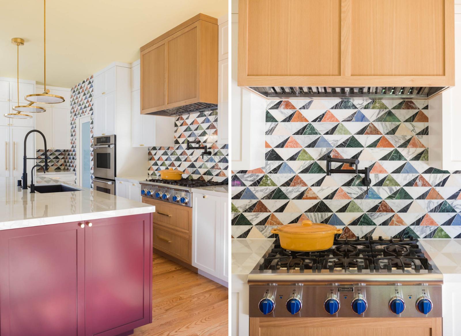 kitchen renovation oakland joy street design colorful tiles backsplash over range green pink blue