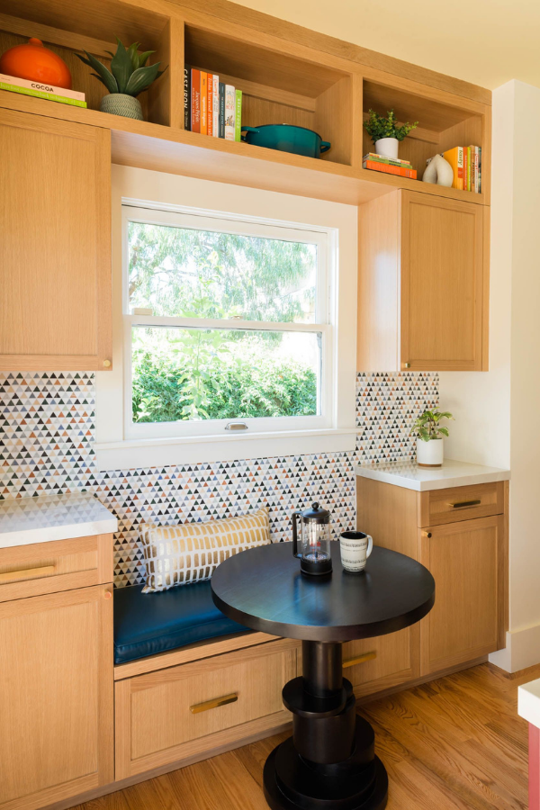 joy street design kitchen renovation oakland ca nook design triangular tile built-in seating table storage