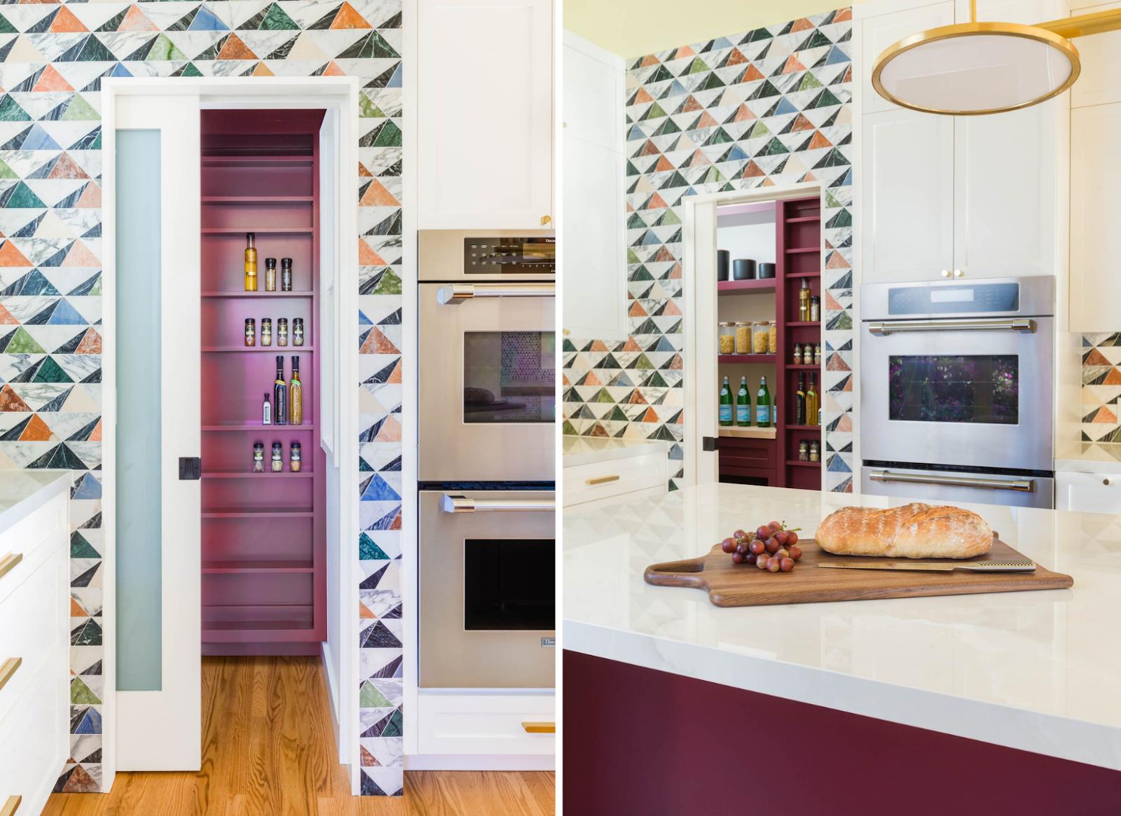 joy street design kitchen renovation fuchsia pantry bold geometric tiles spacious bright vibrant kitchen inspiration